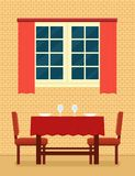 Kuchenny wnętrze z kłaść stołowym i romantycznym położeniem Obraz Royalty Free
