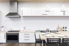 Kuchenny wnętrze z kuchenką ilustracja wektor