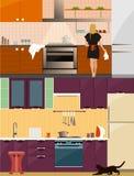 Kuchenny wnętrze z meble w mieszkanie stylu Projektuje elementy i ikony, naczynia, narzędzia Kobieta na kuchennym wektorze ilustracja wektor