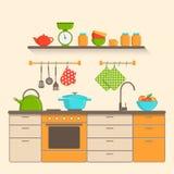 Kuchenny wnętrze z naczyniami, meble i narzędzia w mieszkaniu, projektujemy Obraz Royalty Free