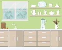 Kuchenny wnętrze w zielonym kolorze royalty ilustracja