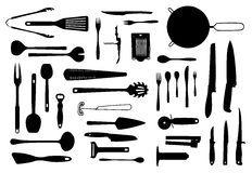 Kuchenny wyposażenia i cutlery sylwetki set Obraz Stock