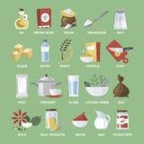 Kuchenny wyposażenia i jedzenia set Kolekcja kulinarne rzeczy royalty ilustracja