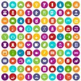 100 kuchennych ikon ustawiający naczynie kolor ilustracji