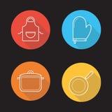 Kuchennych narzędzi cienia płaskie liniowe długie ikony ustawiać ilustracja wektor