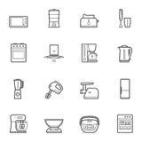 Kuchennych urządzeń kreskowego stylu ikony wektorowy set Obraz Royalty Free