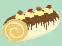 Kuchenrollenillustration der Schokolade sahnige Lizenzfreie Stockfotografie