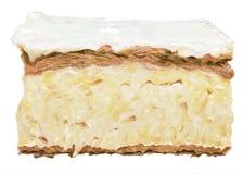 Kuchenvanille-Scheibeneinzelnes lokalisiert Nachtisch, Bonbon, Bäckerei Lizenzfreie Stockbilder