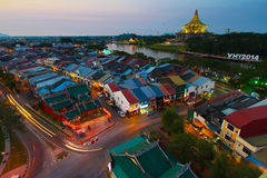 Kuching city in the evening. A high view of kuching city in the evening in Sarawak, Malaysia royalty free stock photography
