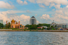 Kuching City Mosqueat day time, Sarawak, Malaysia. Masjid Bahagian. The view from the water to the pink mosque Stock Images