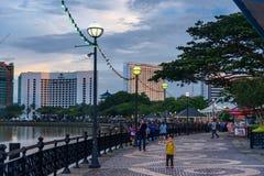 Kuching city waterfront at sunset Royalty Free Stock Photo