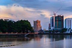 Kuching city waterfront at sunset Royalty Free Stock Photos