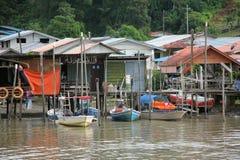Kuching Fishing Villiage. Kuching in Sarawak, Malaysian Borneo. This is the area around the river where fishermen live stock images