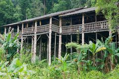 Typical Orang Ulu tribal long house at the cultural village in Kuching, Malaysia. stock images