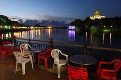 Kuching riverside esplanade in the evening, Sarawak, Malaysia Royalty Free Stock Images