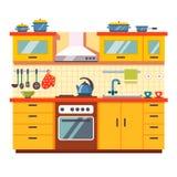Kuchni ścienny wnętrze Obraz Stock