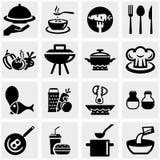 Kuchnia i kulinarne wektorowe ikony ustawiający na szarość Obrazy Stock