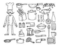 Kuchnia i kulinarni elementy, wektorowa ilustracja Zdjęcie Royalty Free