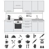 Kuchnia, kulinarne ikony i Kuchenny wnętrze ustawiający, odizolowywający na białym tle również zwrócić corel ilustracji wektora Obraz Stock