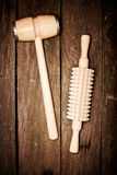 kuchnia narzędzia drewniany Zdjęcia Royalty Free