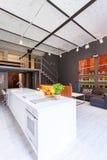 Kuchnia otwarta żywy izbowy pomysł fotografia stock