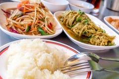 Kuchnia Piec na grillu wieprzowina melonowa Tajlandzkiej sałatki także znać jako Som Tu Zdjęcia Royalty Free
