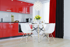 Kuchnia w czerwieni, biel, czarny Zdjęcie Stock