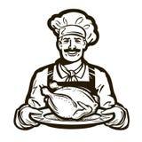 Kuchnia wektoru logo kurczaka mięso, indyk, karmowa ikona ilustracji