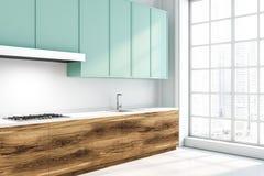 Kuchnia z drewnianym i błękitem sprzeciwia się bocznego widok ilustracja wektor