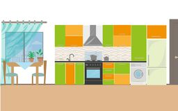 Kuchnia z meble Wygodny kuchenny wnętrze z stołem, kuchenką, spiżarnią, naczyniami i fridge, Mieszkanie stylowy wektor royalty ilustracja