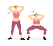 Kucnięcia ćwiczenie dla nóg ilustracji