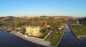 Kucuksu Pavilion and Kucuksu River in Istanbul, Turkey. High angle panoramic view of the pavilion built by Sultan Abdulmecit, 19th century Stock Photos