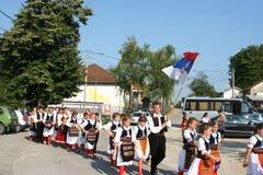 KUD 14. februar Debeljaci Banja Luka in the line for defile. IX Festival - Children's Folklore Days 2016. Debeljaci Banja Luka Stock Photo