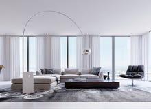 Kuddar på den bekväma hörnsoffan med fåtöljen och panorama- fönster i modernt bo vektor illustrationer