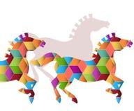 Kudde van Grafische Paarden Royalty-vrije Stock Foto's
