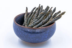 Kudin茶-冬青属Latifolia Kudingcha扭转的叶子  库存图片