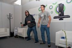 Kudo Tsunoda en Kinect in GamesCom 2010 Stock Afbeeldingen