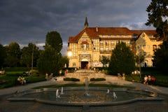 Poland, Kudowa Zdroj - June 18, 2018: View of the resort Polonia at sunset stock images