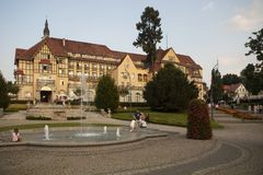 Kudowa Zdroj in Poland. Kudowa is a town located below Stolowe Mountains in Klodzko County, Lower Silesian Voivodeship. It is located right at the Polish-Czech stock photo