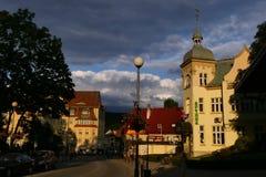 Poland, Kudowa Zdroj - June 18, 2018: View of the old pharmacy and the street Zdrojowa at sunset stock image