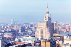 Kudrinskaya方形大厦在莫斯科,俄国。 图库摄影