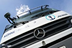 Kuehne + Nagel truck. Kuehne + Nagel International AG is a global transport and logistics company based in Schindellegi, Switzerland royalty free stock photo