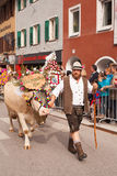 Kufstein/Αυστρία/Tirol 19 Σεπτεμβρίου: αγρότης με το διακοσμημένο γ Στοκ εικόνα με δικαίωμα ελεύθερης χρήσης