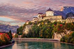 Kufstein Old Town on Inn river, Alps mountains, Austria. Kufstein Old Town with medieval fortress on a rock over the Inn river, Alps mountains, Austria, in stock photography