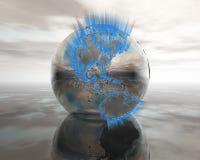 Kugel 3D auf Wasser im Silber Lizenzfreie Stockfotografie