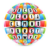Kugel 3d mit englischem Alphabet Lizenzfreie Stockbilder