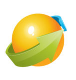 Kugel 3d mit Pfeilauslegung Lizenzfreie Stockfotografie