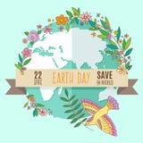Kugel auf einem Türkishintergrund, umgeben durch Blumen und Blätter Die Aufschrift auf der Fahne des Tages der Erde, am 22. April Lizenzfreie Stockbilder