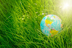 Kugel auf Gras Tag der Erde, Umweltkonzept Lizenzfreie Stockfotografie