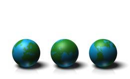 Kugel 3D, die Erde mit den Kontinenten, lokalisiert auf weißem Hintergrund zeigt Stockfoto